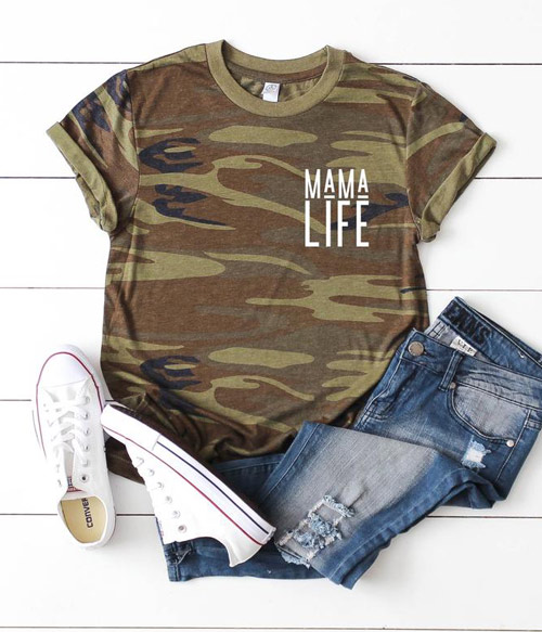 camo mama life shirt