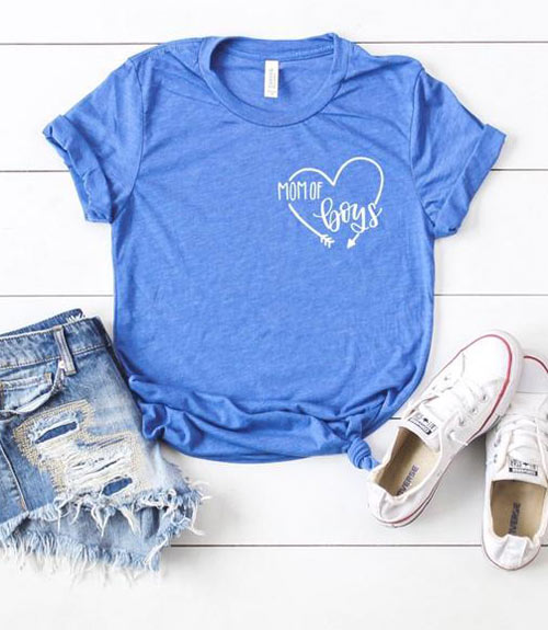 mom of boys heart shirt