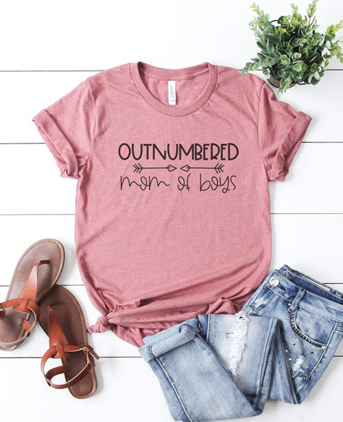 outnumbered mom of boys shirt