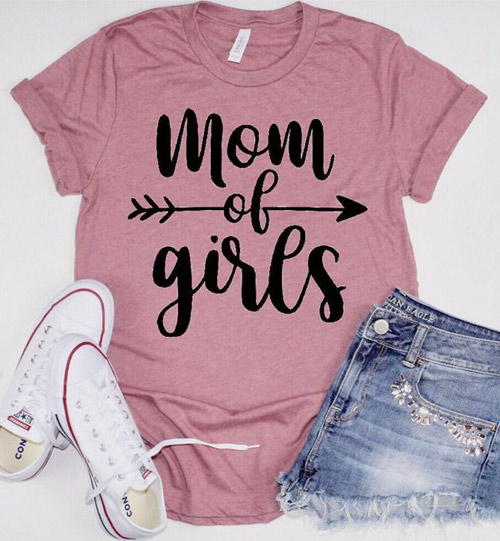 pink mom of girls shirt