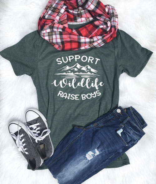 support wildlife raise boys - boy mom shirts